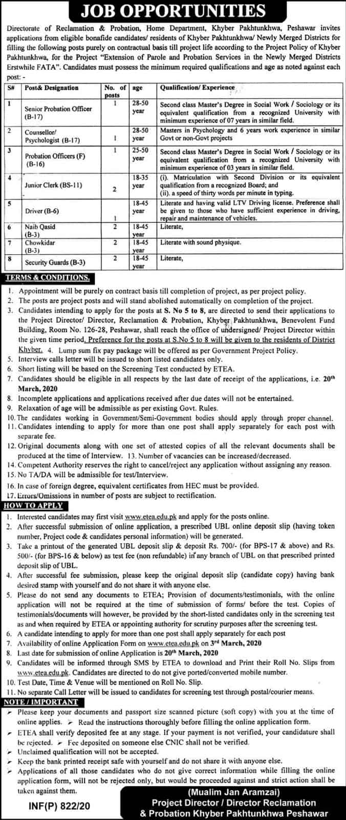 Jobs in Home Department Khyber pakhtunkhwa 2020