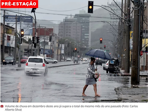 Volume de chuva em dezembro ultrapassa média histórica