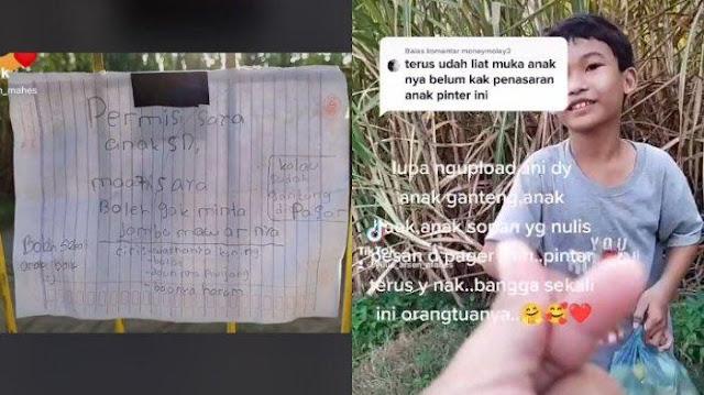 Viral Bocah SD Izin Minta Buah Jambu Lewat Surat dan Dinilai Sopan, si Pemilik: Bisa Jadi Contoh