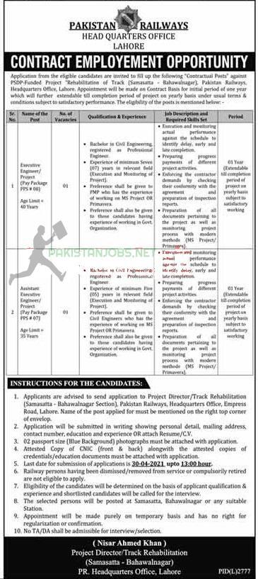 Pakistan Railways Jobs March 2021 Latest Advertisement