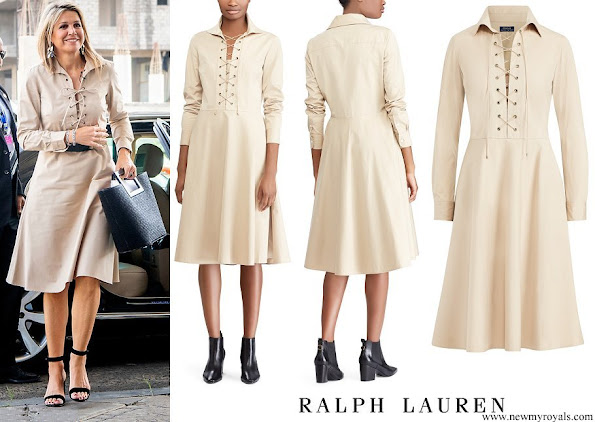 Queen Maxima wore POLO RALPH LAUREN Lace-Up Cotton Poplin Dress