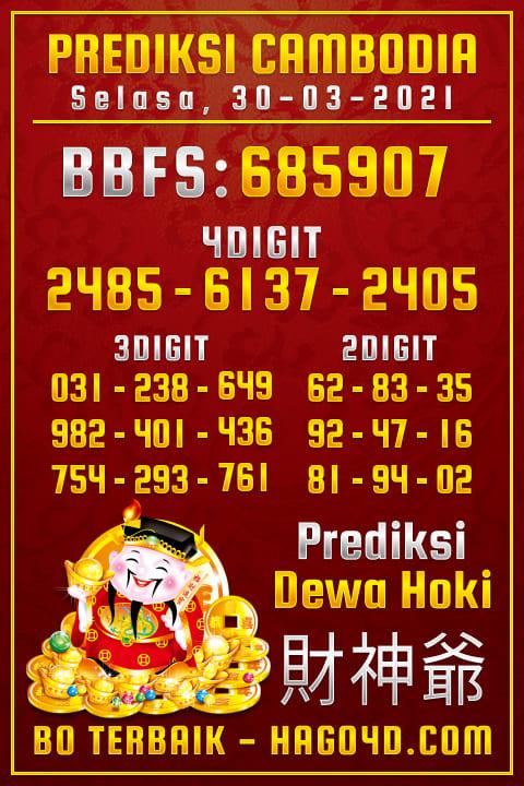 Prediksi Dewa Hoki - Selasa, 30 Maret 2021 - Prediksi Togel Cambodia