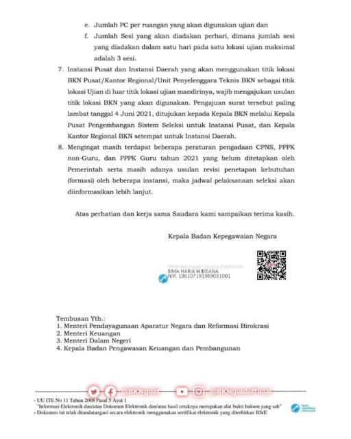 Surat Pengadaan CPNS dan PPPK non-Guru Tahun 2021 Dari Badan Kepegawaian Negara