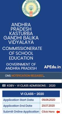 Admission of 6th class admission to Kasturba Gandhi Girls' Schools.