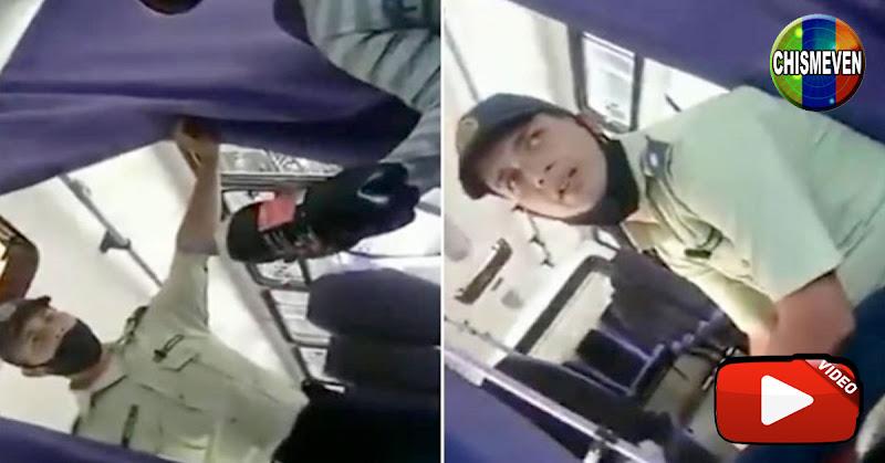 Policía de Caracas extorsionando a un chofer de autobuses