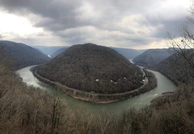 river bending around landmass