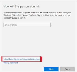 قم بإنشاء حساب جديد في Windows 10