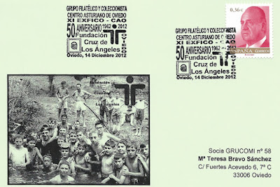 tarjeta, matasellos, Fundación, Cruz de los Ángeles