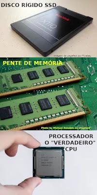 Disco SSD, Memória e Processador CPU