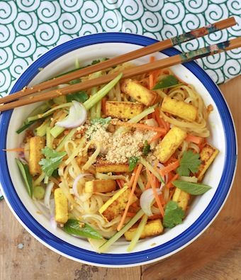 Asian rice noodle salad with spicy lemongrass dressing by SeasonWithSpice.com
