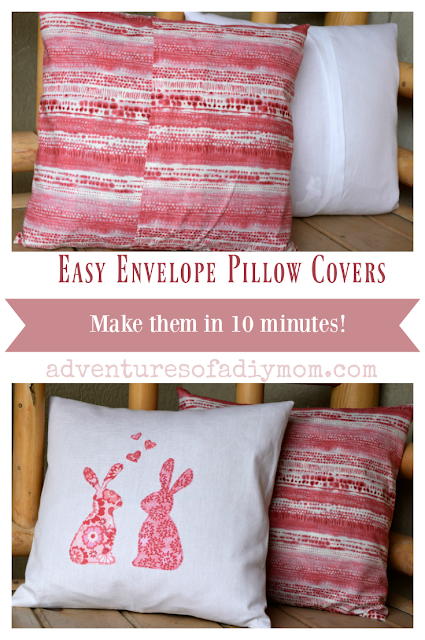 Update your old throw pillows with this quick and easy envelope pillow cover tutorial. In about 10 minutes, you can learn to sew these pillow covers with an envelope closure. Plus learn how to calculate the fabric needed for your pillow size. #envelopepillowcovers #easypillowcovers #sewingcrafts #diypillowcovers #adventuresofadiymom