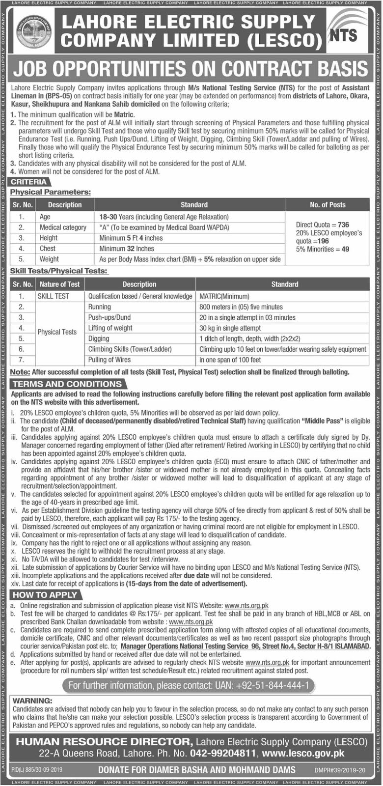 Lahore Electric Supply Company LESCO Jobs 2019