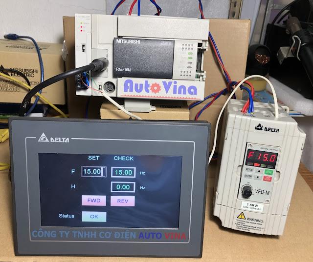 Hướng dẫn lập trình PLC Mitsubishi FX3U truyền thông Modbus RS485 với biến tần Delta VFD-M