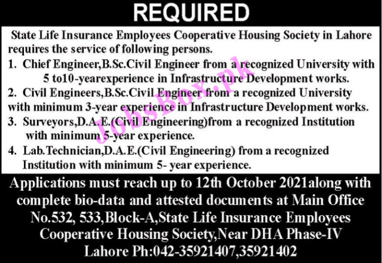 State Life Insurance Employees Cooperative Housing Society Jobs 2021 in Pakistan