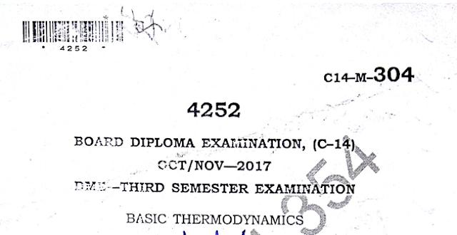 Diploma Previous Question Paper c14 Mechanical 304 Basic Thermodynamics Oct/Nov 2017