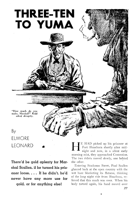 Illustration for 3:10 to Yuma, by Elmore Leonard - Dime Western, March 1953