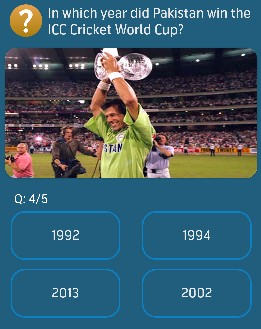 In which year did Pakistan win the ICC Cricket World Cup?