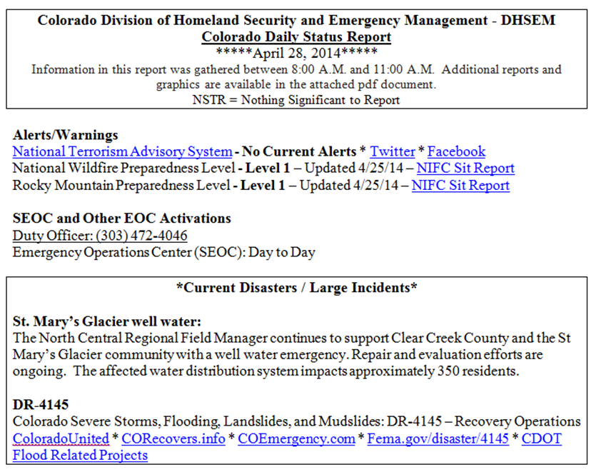 Colorado Emergency Management: April 2014