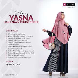 Koleksi Gamis Syari Muslimah Yasna Dark Navy Rouge Stripe Series Set Syari by AULIA Fashion