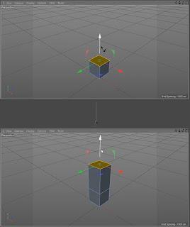 Mengekstrusi poligon dari objek kubus