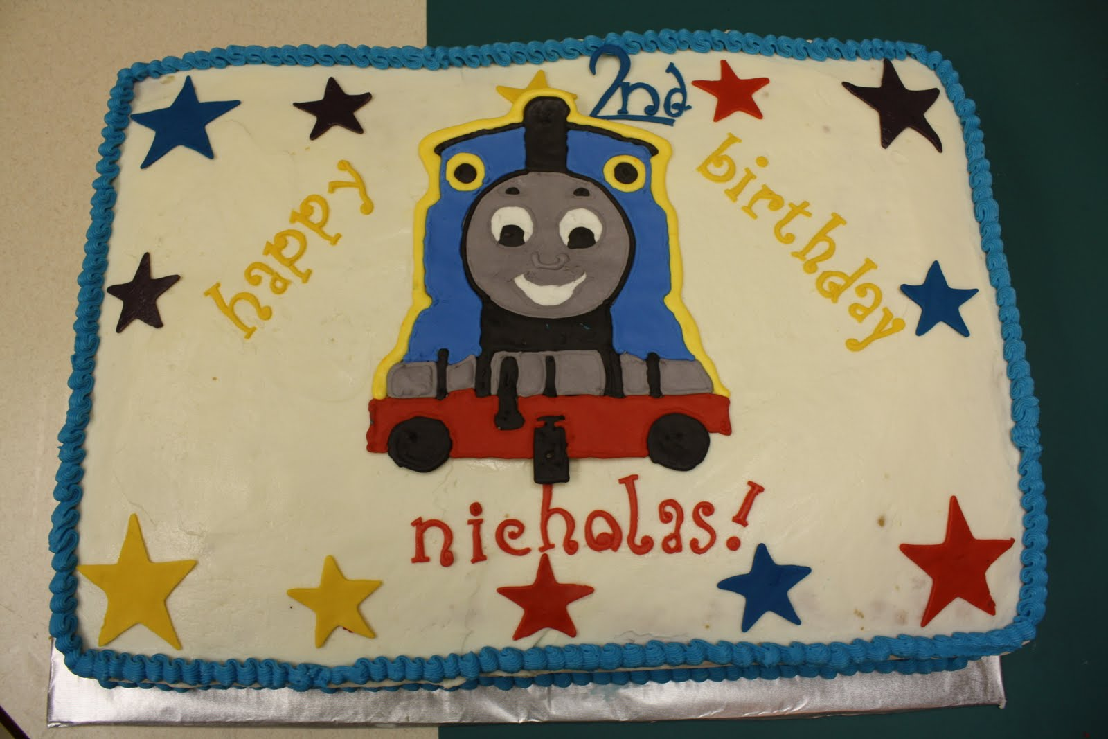 This Is A Full Sheet Cake With Thomas The Train Theme Bottom Layer Chocolate Top Classic White And There Generous Of