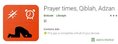 Prayer times, Qiblah, Adzan
