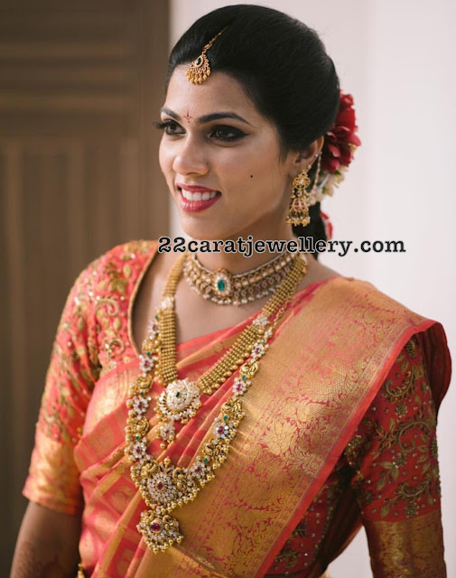 Bride in Floral Peacock Haram