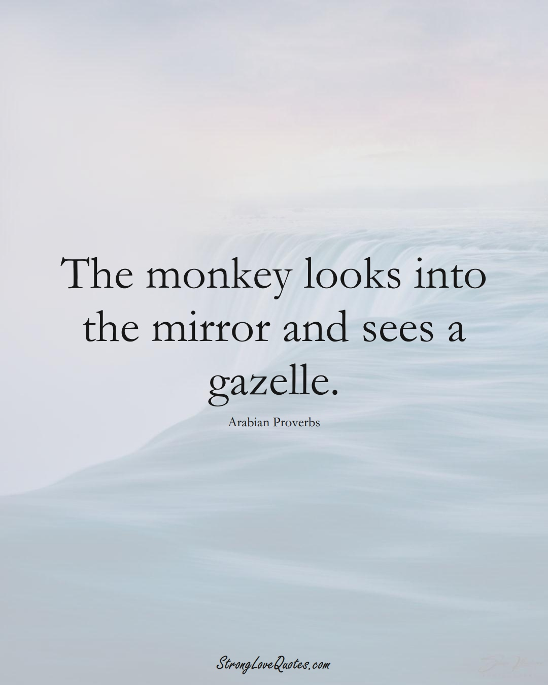 The monkey looks into the mirror and sees a gazelle. (Arabian Sayings);  #aVarietyofCulturesSayings