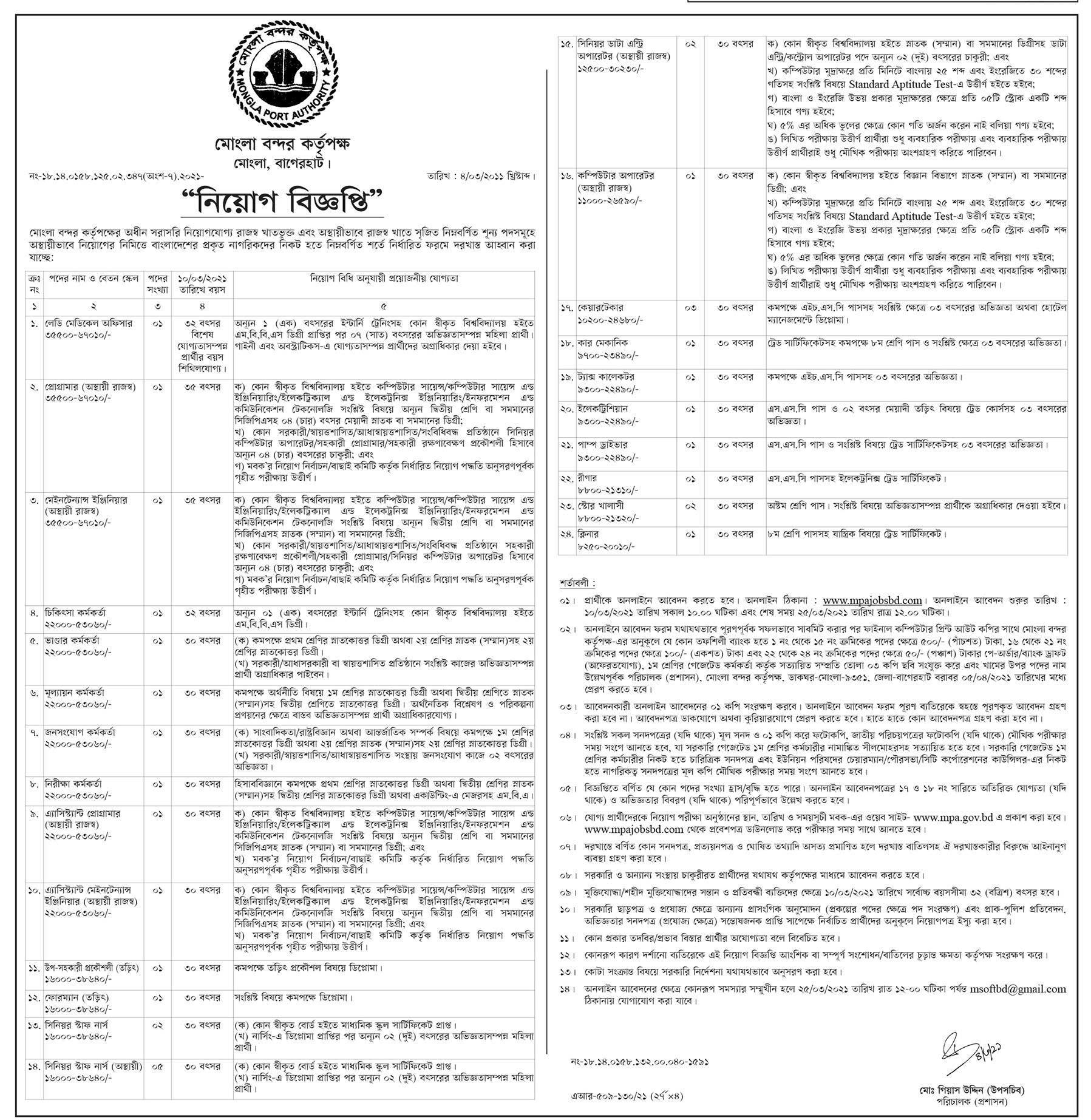 Mongla Port Authority MPA Job Circular 2021 - মোংলা বন্দর কর্তৃপক্ষ নিয়োগ বিজ্ঞপ্তি ২০২১