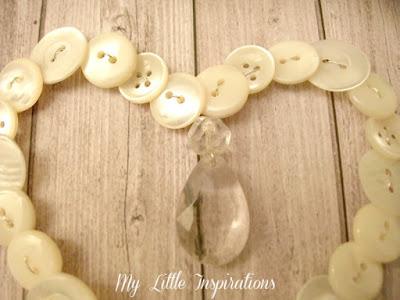 Ghirlanda cuore di bottoni e goccia di cristallo - goccia - My Little Inspirations