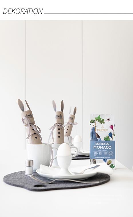 Tischdekoration für Ostern mit Knallbombom-Osterhase aus Papier -die Anleitung und die Druckvoralge findest du im MINIMALmagazin.