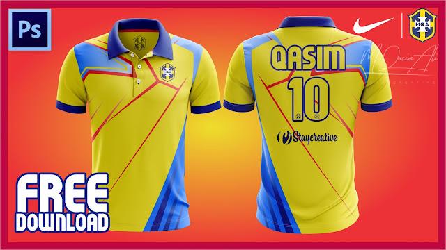 Epic Cricket Shirt Design Tutorial + Free Yellow image PSD Mockup Download By M Qasim Ali