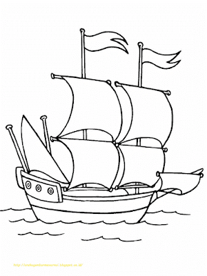 Mewarnai Gambar Kapal Laut - 15