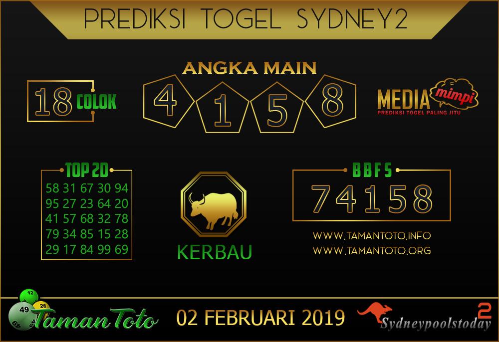 Prediksi Togel SYDNEY 2 TAMAN TOTO 02 FEBRUARI 2019