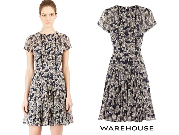 Princess Marie wore Warehouse Floral Pleated Bodice Dress
