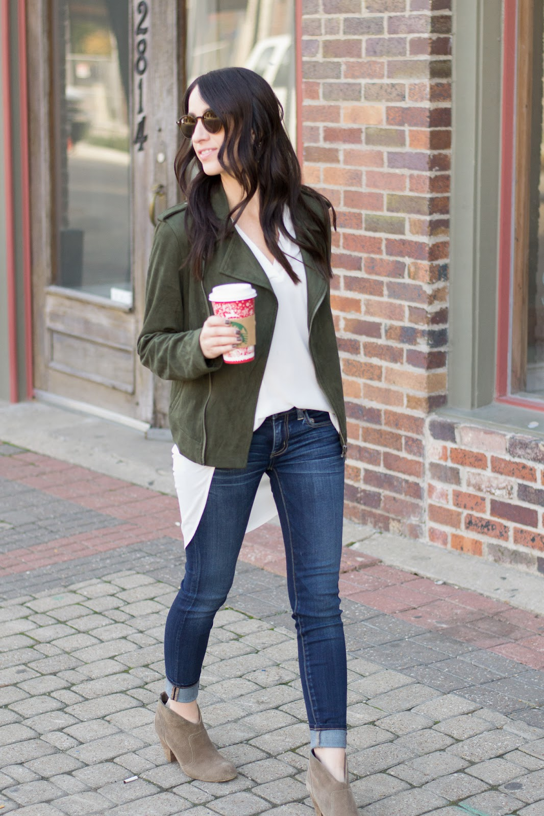 Fall layers with basic tunic and moto jacket