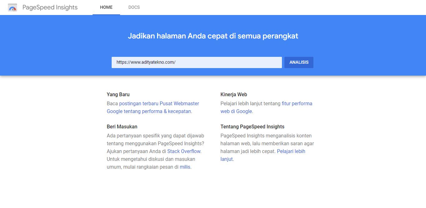 Cara Menggunakan Google PageSpeed Insight untuk Optimasi Blog