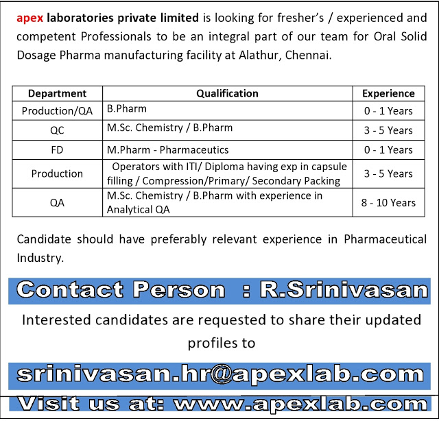 Apex Laboratories | Openings for Freshers & Experienced in Production / QC / QA / Formulation Development | Send CV