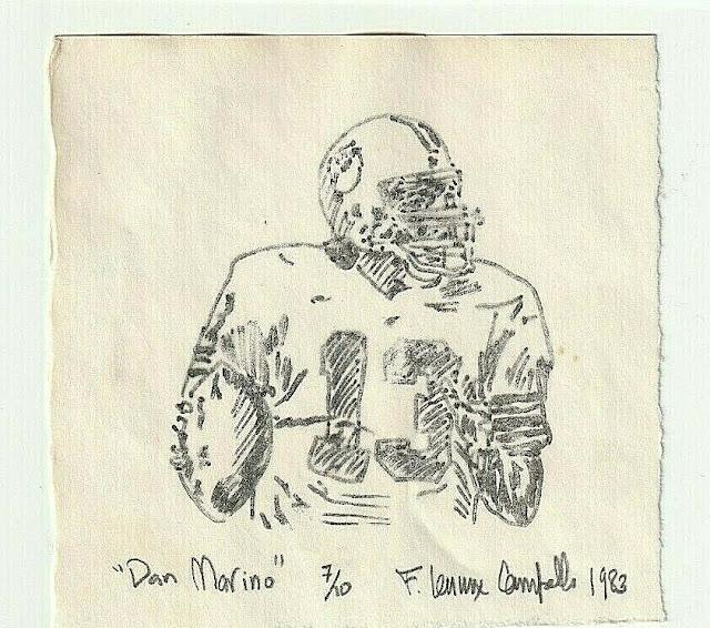 Dan Marino - Art school litho circa 1983 by Campello