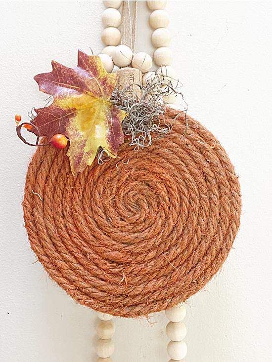 jute pumpkin and beads
