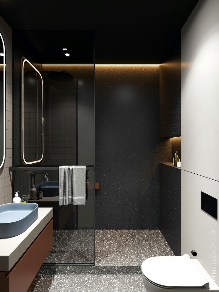 Baño moderno con ducha negro