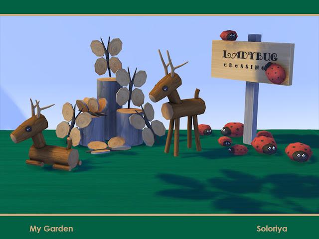 My Garden Мрй сад для The Sims 4 Декоративные предметы для ваших садов. Включает в себя 14 предметов, 3-4 цветовых вариаций. Предметы в наборе: - два оленя - бабочки - совы - птичий дом - подставка для скворечника - три вида камней - Божья коровка знак - игрушка луковица - два вида каменного кактуса - грибы.