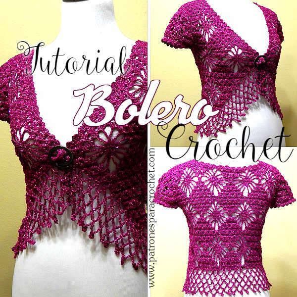 Elegante Bolero Crochet con Punto Araña / Tutorial | Patrones para ...