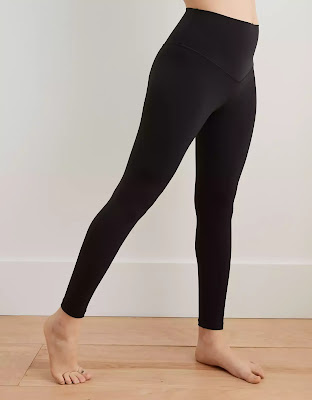 a comparison of 3 pairs of soft buttery leggings at 3 different price points; Lululemon, Zyia Active, Aerie