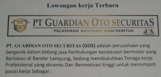 Lowongan Kerja Terbaru 2016 di Lampung PT. Guardian Oto Securitas