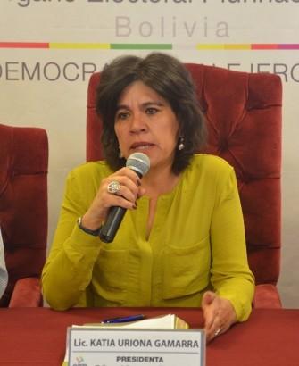 La presidenta del TSE Katia Uriona