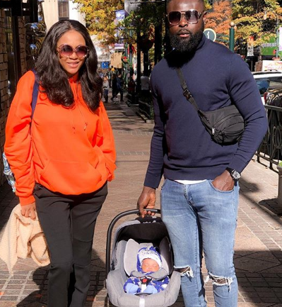 Yomi Casual and wife step out with their newborn son