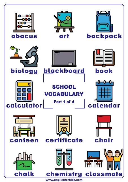 School vocabulary - printable poster for English learners