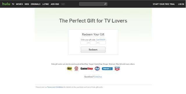 Активация подарочной карты Hulu