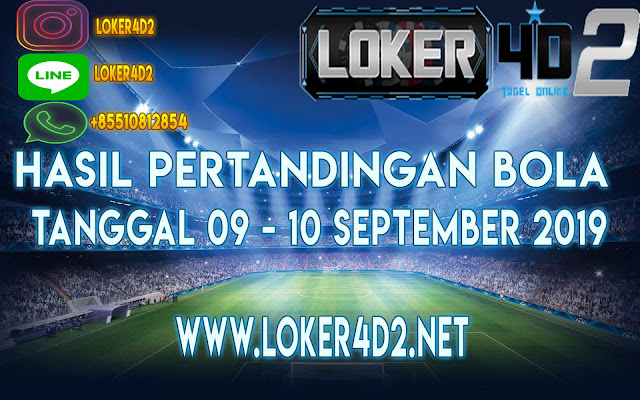 HASIL PERTANDINGAN BOLA 09 – 10 SEPTEMBER 2019